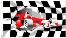 Black and White Check & Racing Car 5'x3' (150cm x 90cm) Flag